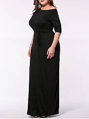 Round Neck Solid Plus Size Maxi Dress With Half Sleeve