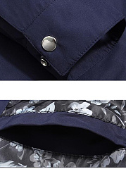 Band Collar Plain Zips Pocket Men Jacket