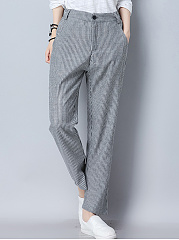 Pinstripe Elastic Waist Pocket Slim-Leg Casual Pants