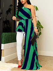 Asymmetric Neck  Asymmetric Hem  Striped Maxi Dress