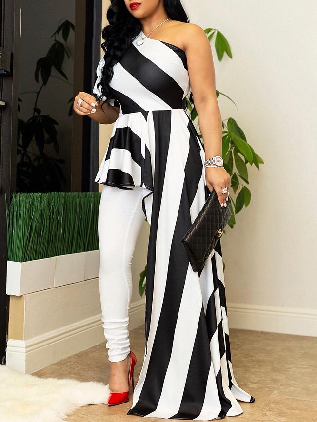 Image of Fashionmia Asymmetric Neck Asymmetric Hem Striped Maxi Dress
