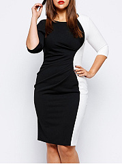 Black White Color Block Round Neck Plus Size Bodycon Dress