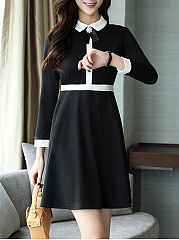 Fold-Over Collar  Color Block Skater Dress