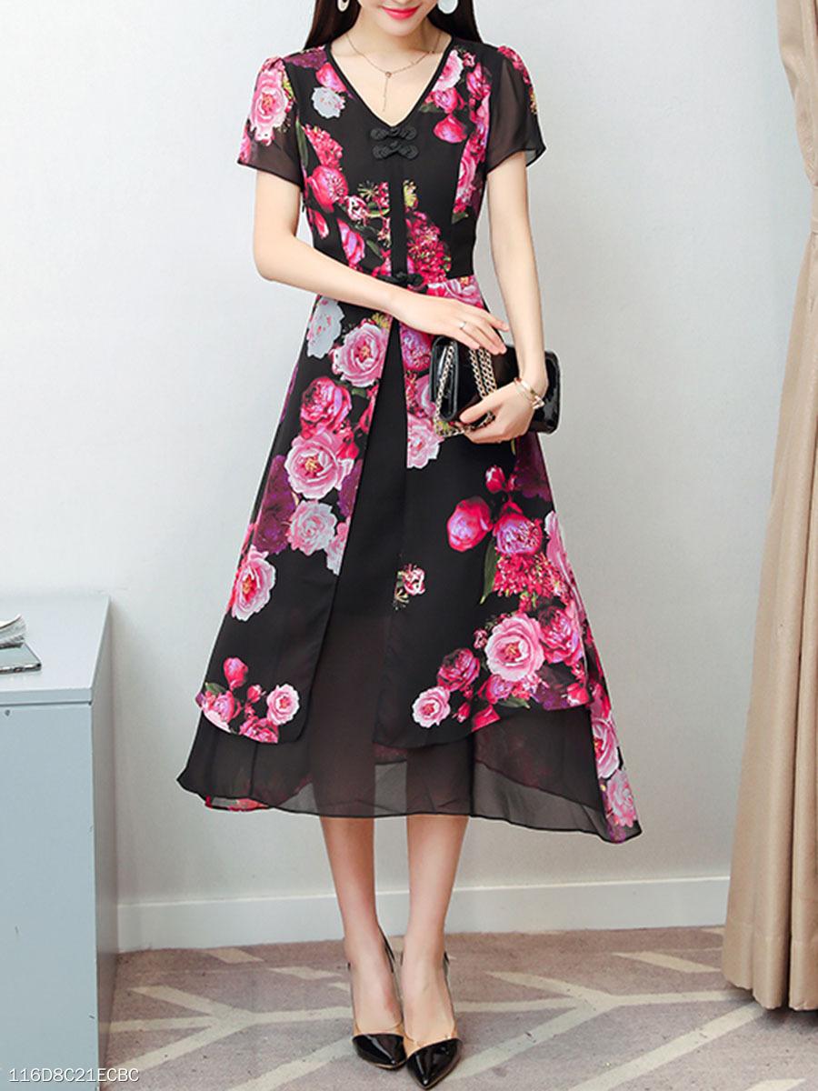 450f5ff465 V-Neck Floral Printed Midi Skater Dress - fashionMia.com