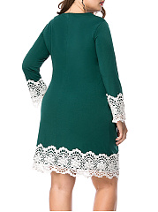 Courtly Round Neck Decorative Lace Plus Size Bodycon Dress