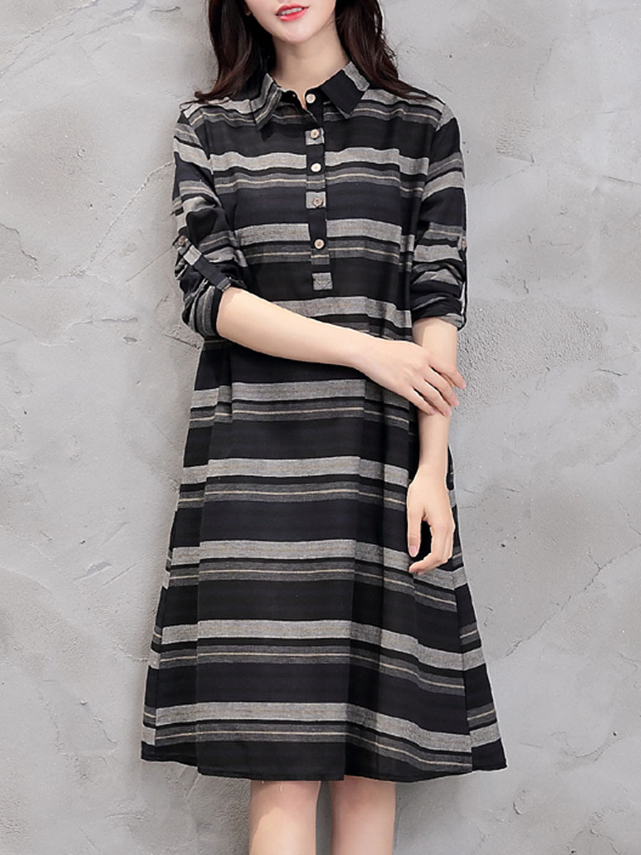 Polo Collar Striped Roll-Up Sleeve Shift Dress