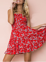 Strapless Ruffle Trim Smocked Bodice Floral Printed Skater Dress
