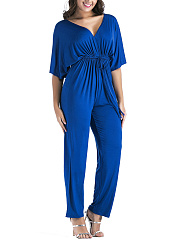 Deep-V-Neck-Drawstring-Plain-Empire-Straight-Jumpsuit