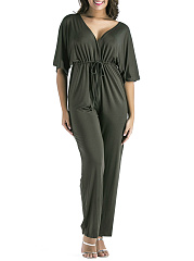 Deep V-Neck Drawstring Plain Empire Straight Jumpsuit