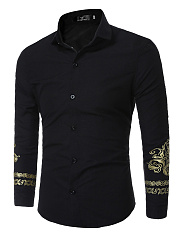 Turn Down Collar Special Printed Men Shirts