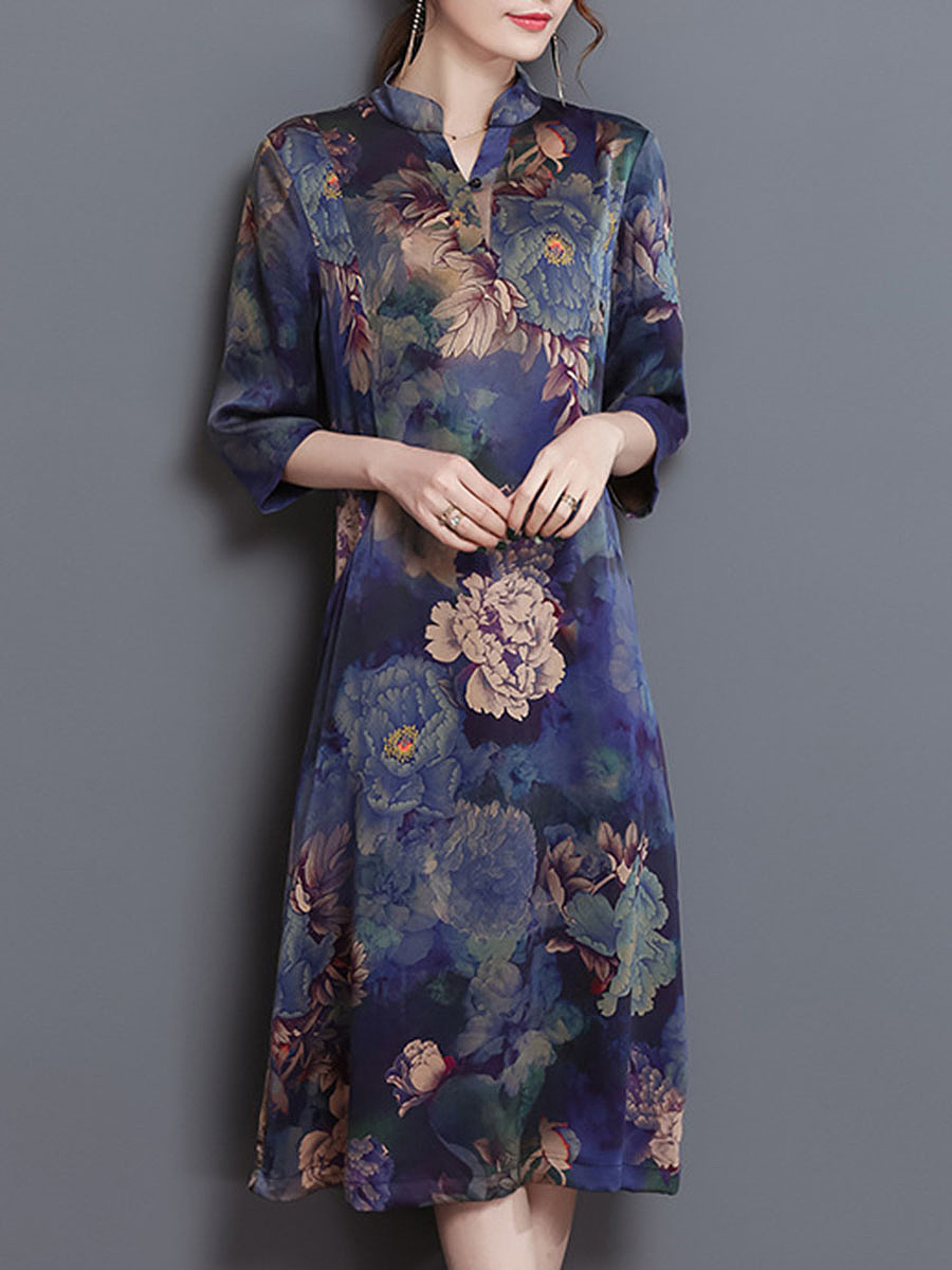 Split Neck Floral Printed Pocket Maxi Dress