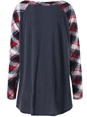 V Neck  Patchwork  Checkered Long Sleeve T-Shirts