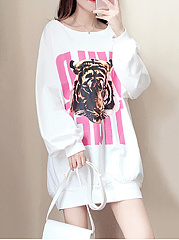 Autumn Spring  Cotton Blend  Printed  Raglan Sleeve  Long Sleeve Hoodies