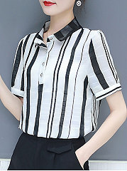 Spring Summer  Cotton  Women  Turn Down Collar  Decorative Button  Striped  Short Sleeve Blouses