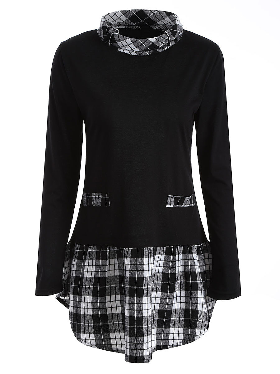 Turtleneck  Plaid Long Sleeve T-Shirt