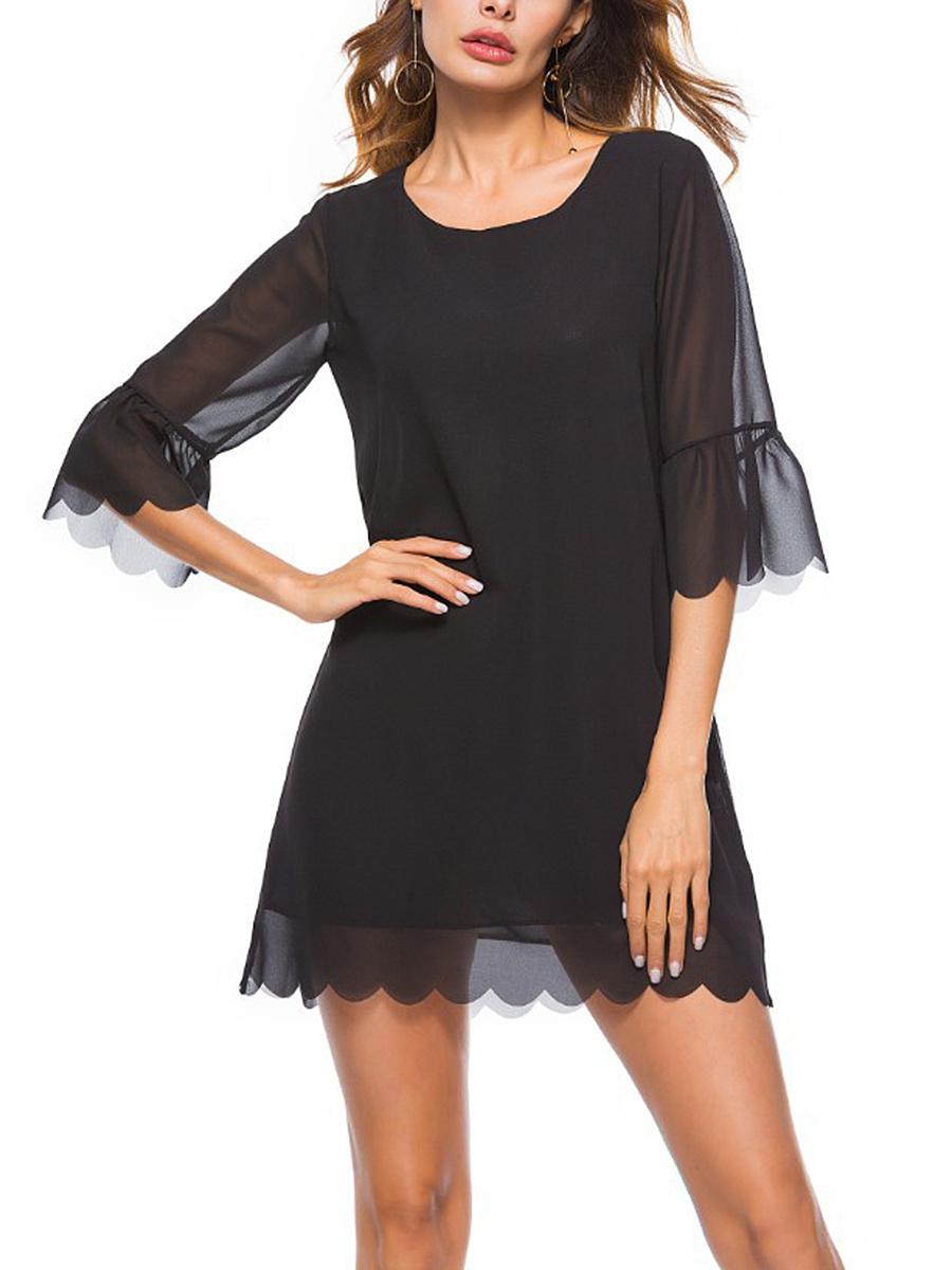 Round Neck  Asymmetric Hem  Plain Shift Dress