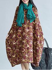 CottonLinen-Round-Neck-Printed-Maxi-Dress