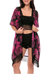 Fringe Floral Hollow Out Kimono