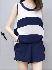 Summer  Polyester  Women  Round Neck  Color Block Shorts And Sleeveless  Blouses