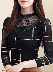Autumn Spring Winter  Polyester  Women  Beading Decorative Lace See-Through  Contrast Piping Long Sleeve T-Shirts