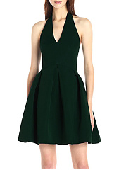 Halter Backless Plain Skater Dress