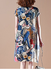 Abstract Round Neck  Abstract Print Shift Dress