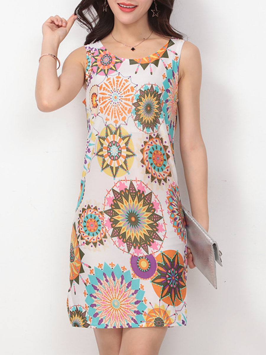 Round Neck Printed Bodycon Dress
