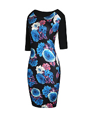 Fabulous Floral Printed Round Neck Bodycon Dress