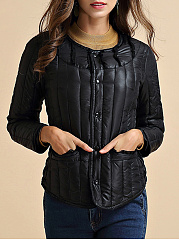 Collarless Plain Pocket Quilted Padded Coat