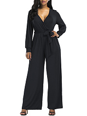 Deep-V-Neck-Bowknot-Plain-Wide-Leg-Jumpsuit