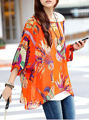Spring Summer  Polyester  Women  Open Shoulder  Floral Printed Blouses