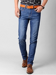 Light-Wash-Patch-Pocket-Straight-Mens-Jeans
