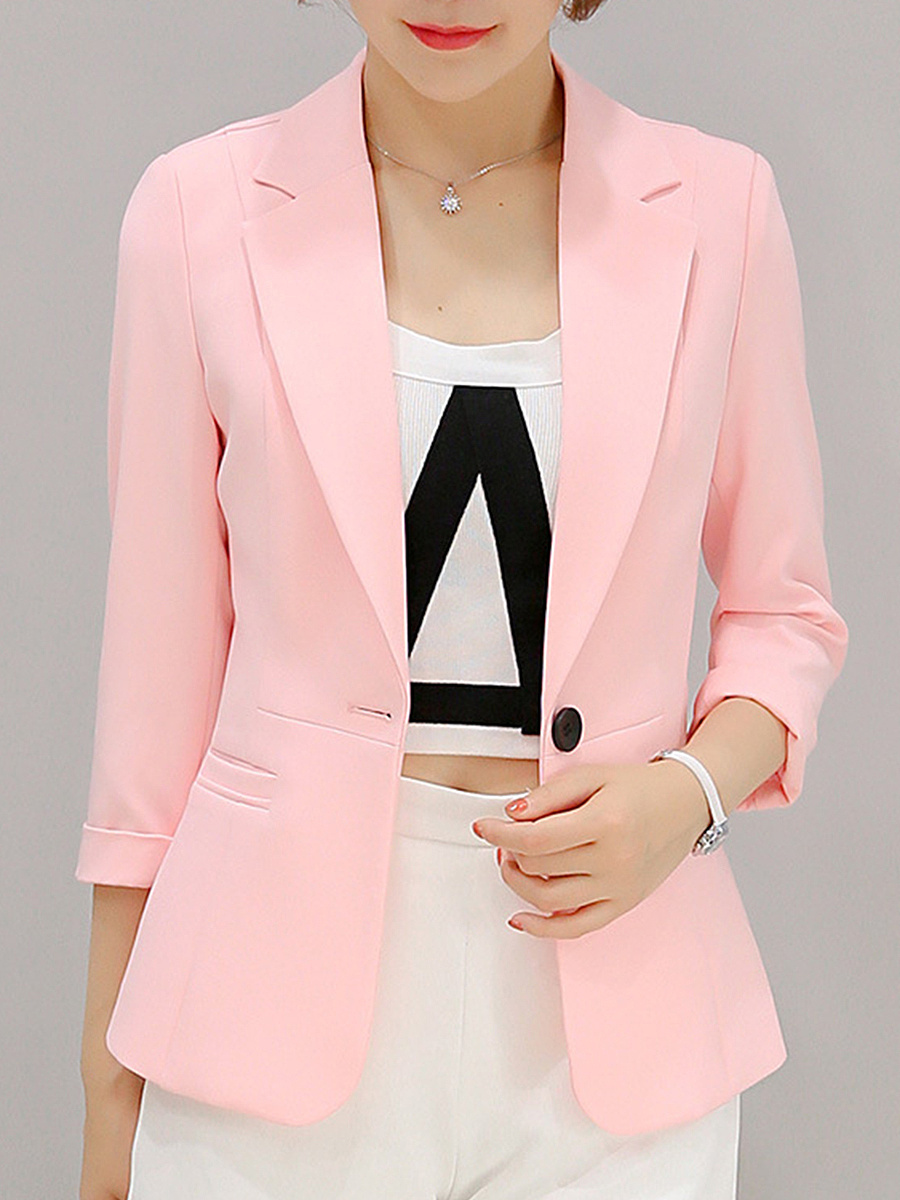 Plain Notch Lapel Single Button Blazer