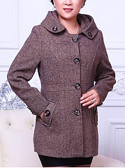 Hooded Single Breasted Pocket Woolen Coat