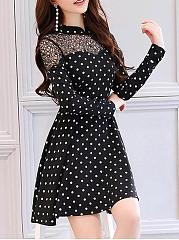 Polka-Dot-See-Through-Vintage-Band-Collar-Skater-Dress