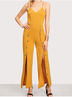 Bright Yellow V-Neck Plain Casual Pants For Women