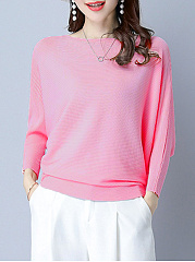 Plain  Batwing Sleeve Pullover
