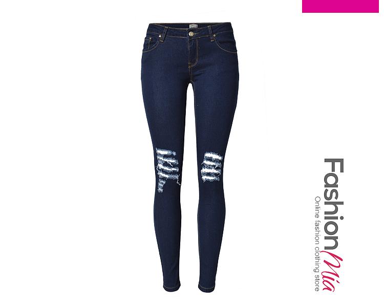 Trendy Ripped Patch Pocket Slim-Leg Jean