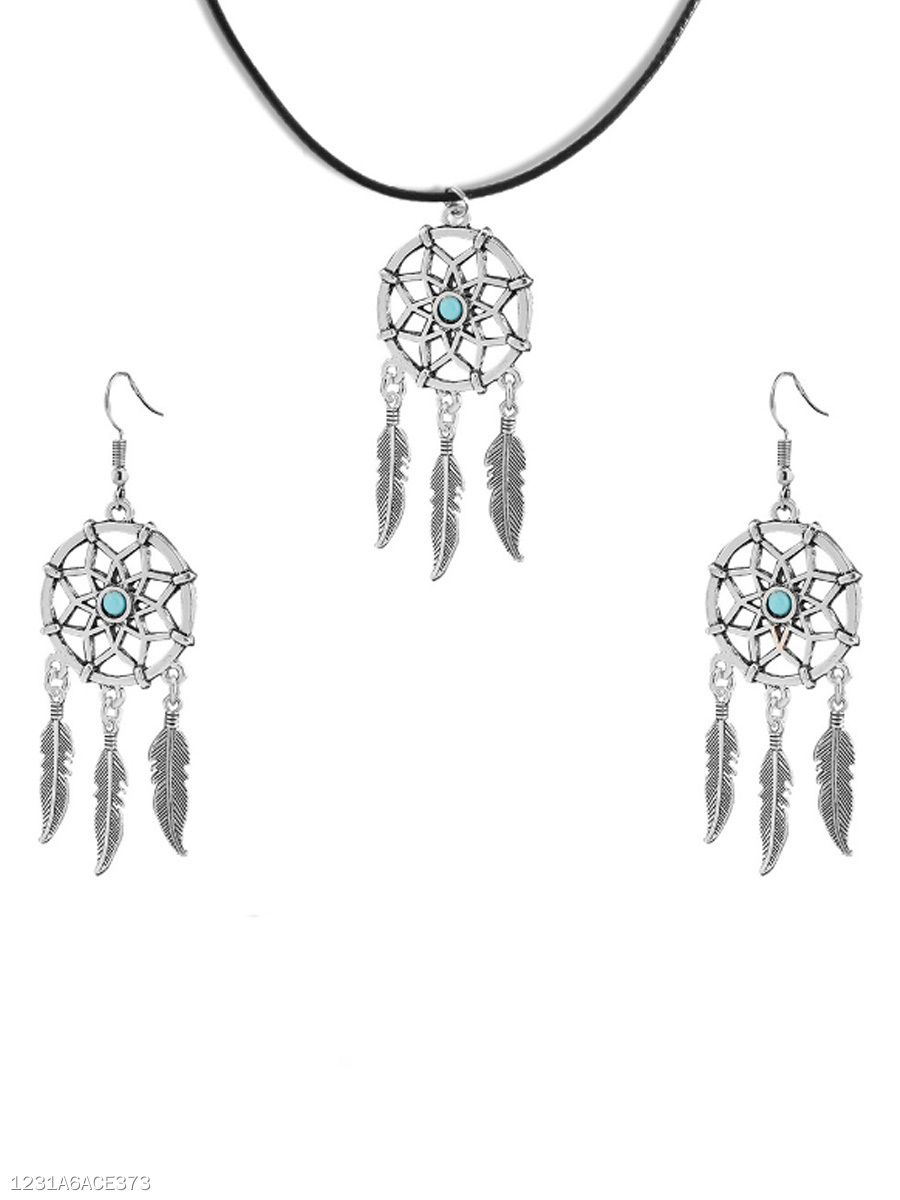 Dreamcatcher Alloy Necklace And Earrings Set