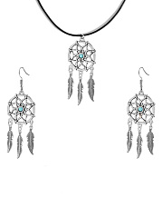 Dreamcatcher Silver Necklace And Earrings Set