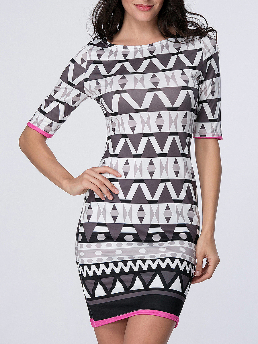 Geometric Striped Boat Neck Bodycon Dress