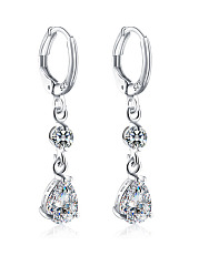 Rhinestoned Imitated Crystal Oval Drop Earrings