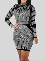 Band Collar  See-Through  Abstract Print Bodycon Dress   Positioning Printing