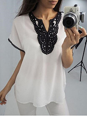 Chiffon  Split Neck  Decorative Lace  Color Block  Short Sleeve Blous