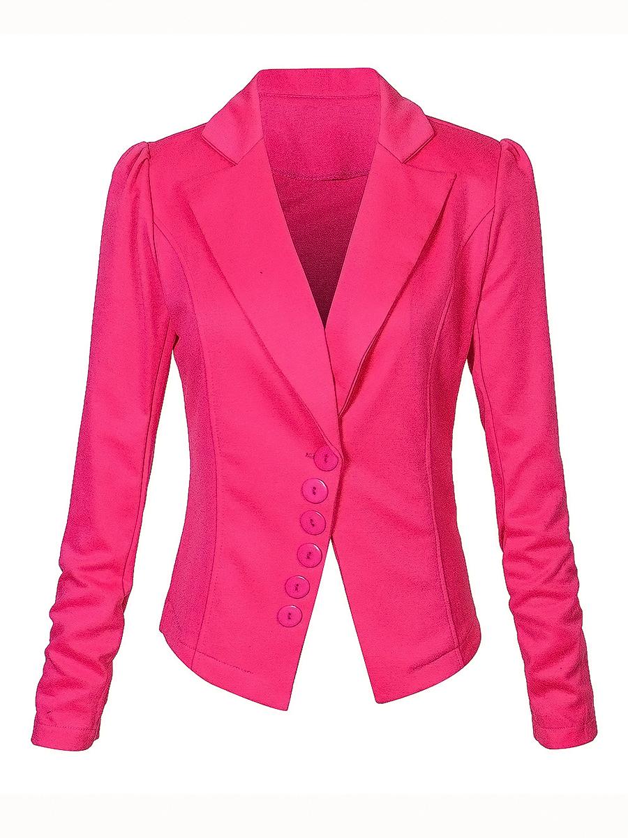 plain autumn spring elegant Fold-Over Collar  Plain  Long Sleeve Blazers