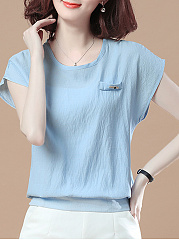 Summer  CottonLinen  Women  Plain  Short Sleeve Short Sleeve T-Shirts