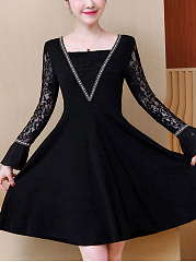 Square-Neck-Hollow-Out-Bell-Sleeve-Skater-Dress
