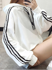 Autumn Spring  Cotton Blend  Letters Plain Striped  Long Sleeve Hoodies