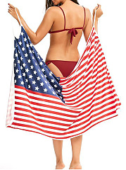 Spaghetti Strap Multi-Way American Flag Printed Cover Ups