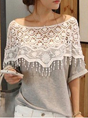 Round Neck  Decorative Lace  Plain  Short Sleeve Short Sleeve T-Shirt